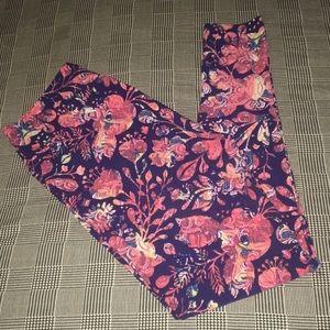 LuLaRoe Tall Curvy TC Floral Leggings | Navy Peach